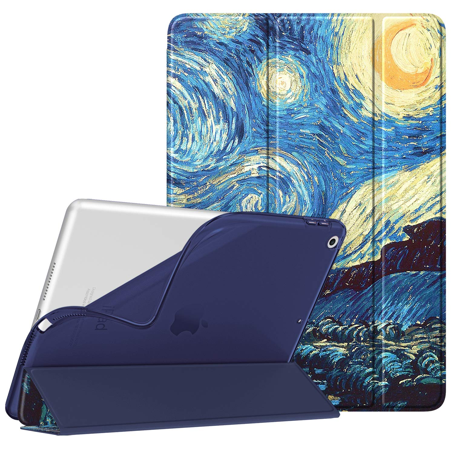 """Fintie SlimShell Case for New iPad 7th Generation 10.2 Inch 2019 - Lightweight Smart Stand with Soft TPU Back Cover Supports Auto Wake/Sleep for iPad 10.2"""" Tablet, Starry Night"""