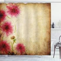 """Ambesonne Floral Shower Curtain, Retro Flowers on Old Grunge Paper Background Nostalgic Background Bouquet Print, Cloth Fabric Bathroom Decor Set with Hooks, 70"""" Long, Sand Brown"""