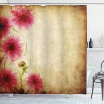 """Ambesonne Floral Shower Curtain, Retro Flowers on Old Grunge Paper Background Nostalgic Background Bouquet Print, Cloth Fabric Bathroom Decor Set with Hooks, 84"""" Long Extra, Sand Brown"""