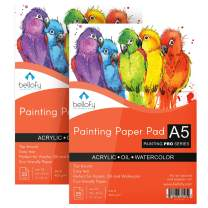 Bellofy A5 Painting Paper Pad Set of 2-25 Sheets / 50 Pages - Acrylic Oil Watercolor Cold Pressed Rough Finish Paper - 5.8 x 8.3 inch Small 246 lB / 400 GSM - Art Paper for Kids