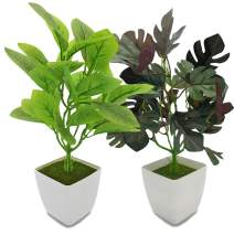YOLETO Artificial Plants in Pots for Home Decor Indoor, 2Pack Faux Plants, Fake Greenery Real Touch Faux Floor Leave (Magnolia Denudata Leave+Palm Monstera Leave)