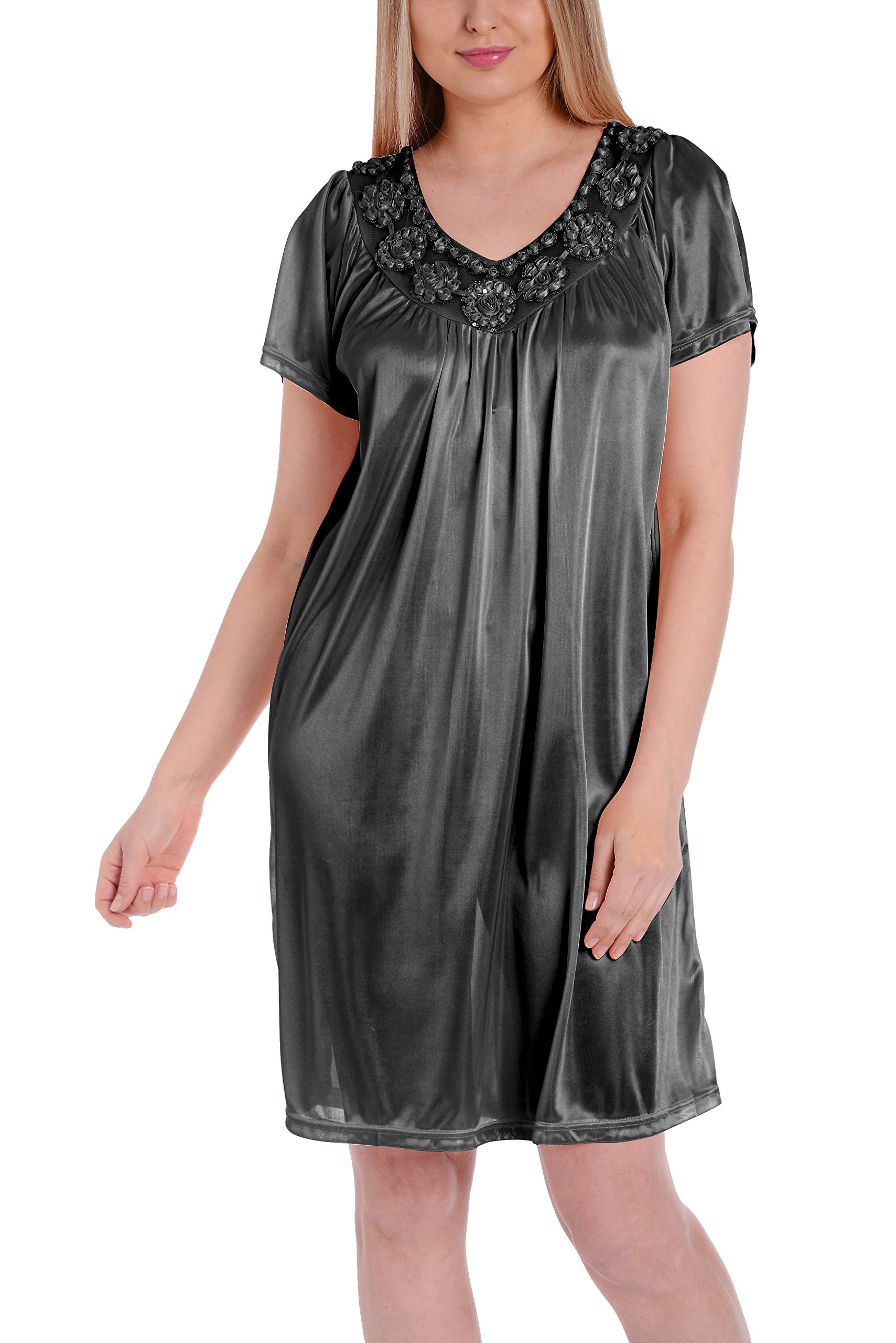 Ezi Women's Satin Silk Short Sleeve Fine Sequin Nightgown