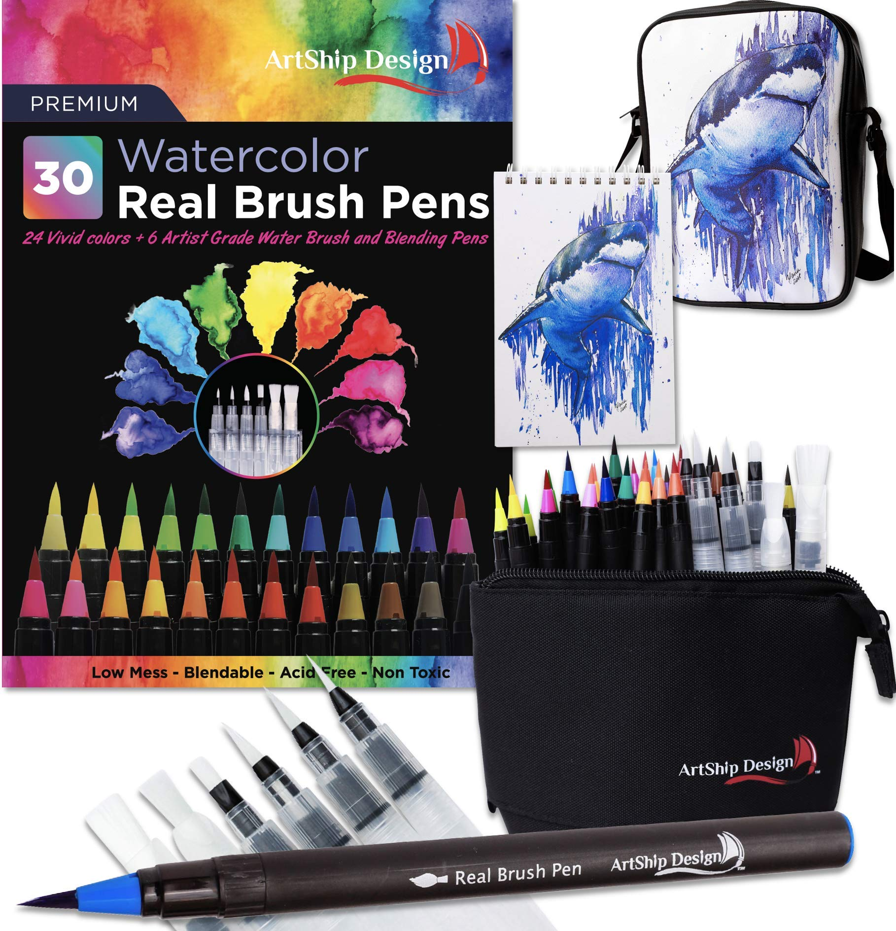 Gift Pack 30 Watercolor Brush Pens, Matching Messenger Bag and Watercolor Pad, Custom Folding Upright Pen Case, 24 Colors 6 Water Brushes, Real Nylon Brush Tips, Watercolor Painting, Low Mess, Shark