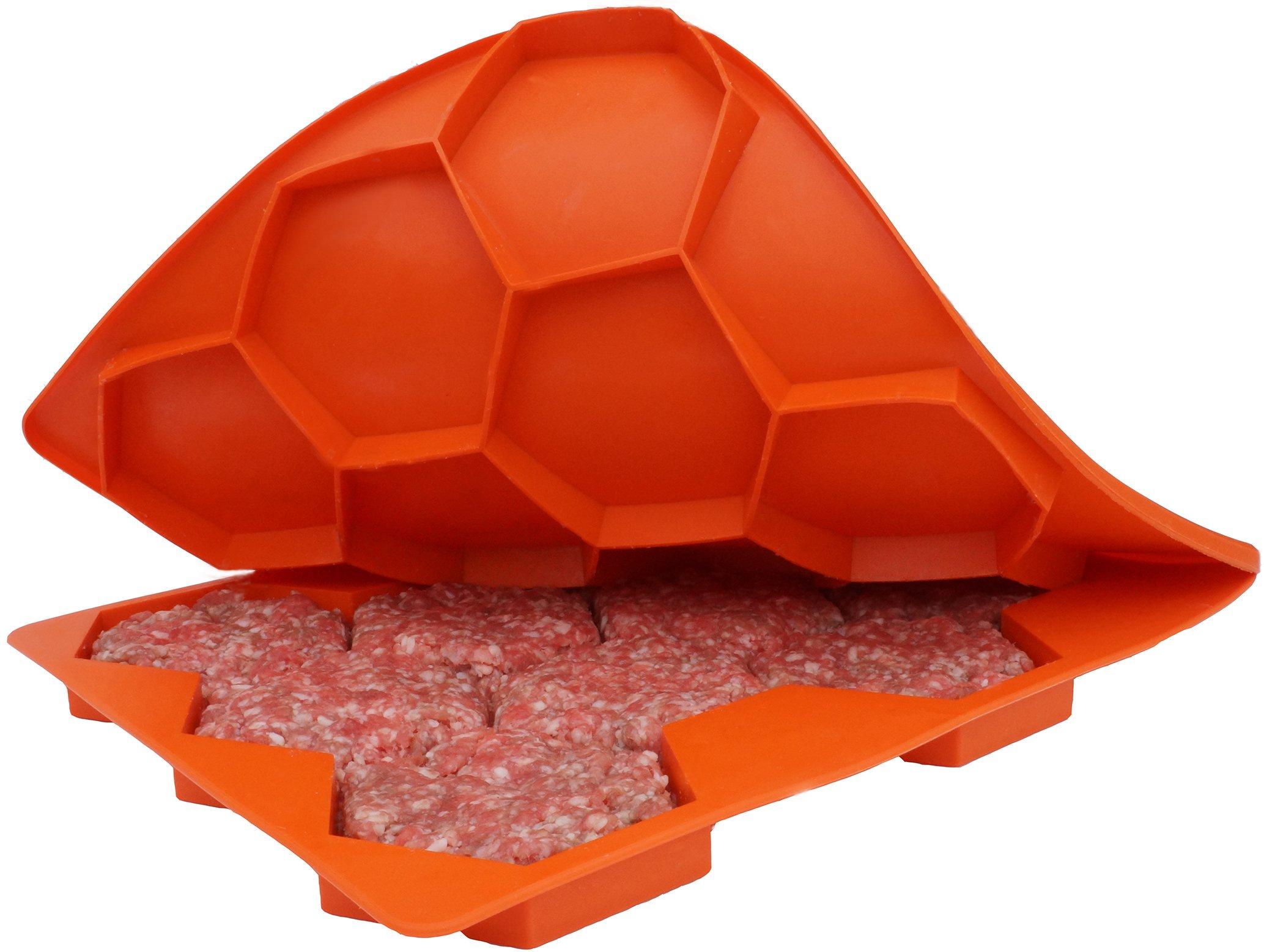 Shape+Store Burger Master Sliders 10 in 1 Innovative Burger Press and Freezer Container, 10-Patty, Blaze Orange