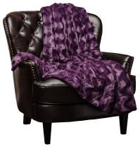 Chanasya Fuzzy Faux Fur Throw Blanket - Soft Wave Embossed Pattern - for Bed Couch Plush Suitable for Fall Winter and Summer (50x65 Inches) Purple Blanket