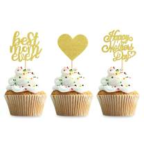 Keaziu 48 Pack Gold Happy Mothers Day Cupcake Toppers Best Mom Ever Cupcake Picks Cake Decoration Party Supplies for Mother's Day Party Cupake Decorations