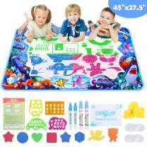 """GIKPAL Aqua Magic Doodle Mat Water Drawing Mat Toddler Painting Writing Board for Boys Girls Educational Toys Gifts for Kids Age of 2 3 4 5 6 7 8 Size 45""""x27.5"""""""
