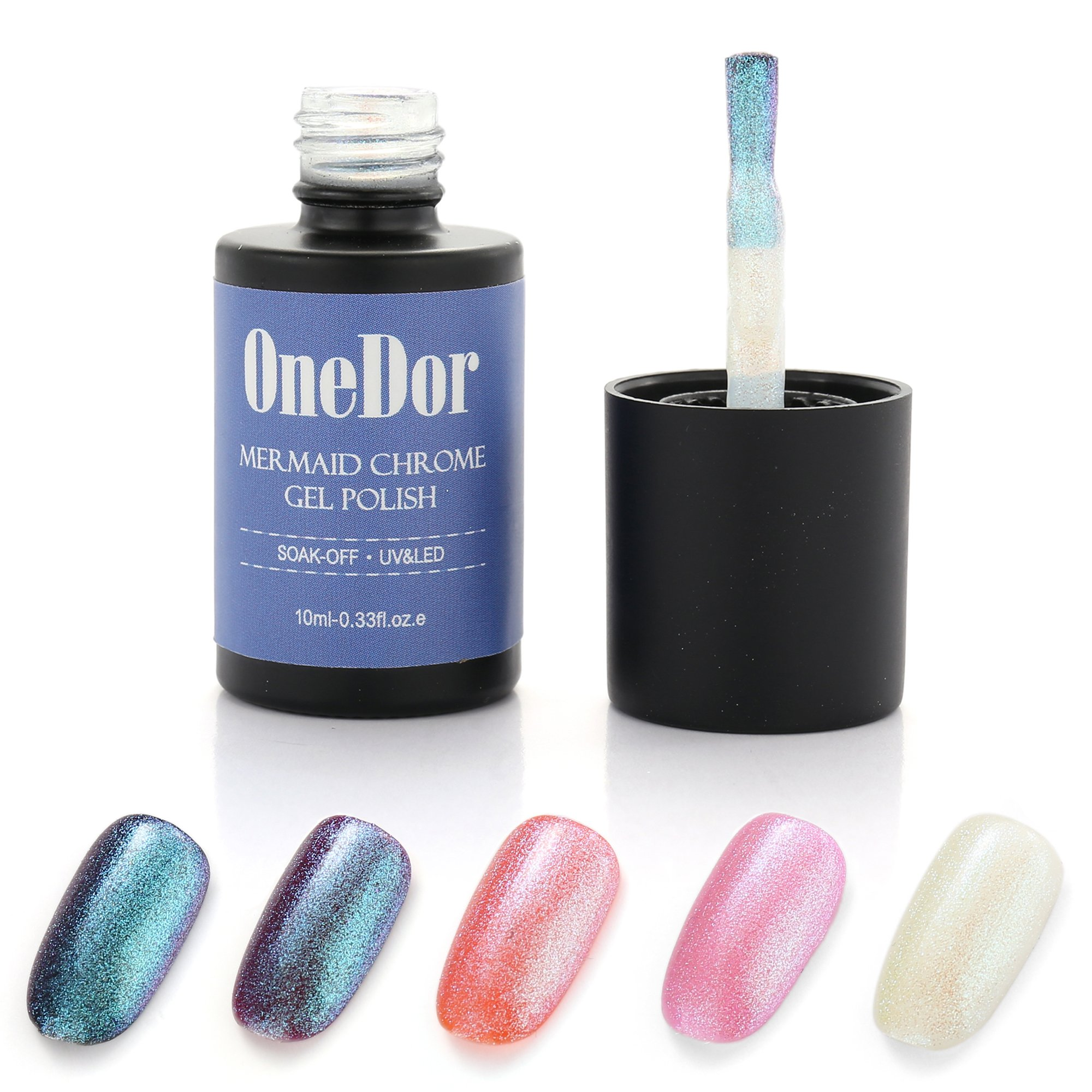 OneDor Mermaid Gel Polish Enhancer - UV Led Cured Required - Upgraded Replacement for Chrome Nail Powder (Ocean)