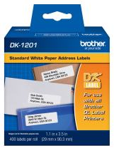 "Brother Genuine DK-1201 Die-Cut Standard Address Labels –  Long Lasting Reliability, Die-Cut Standard Address Paper Labels, 1.14"" x 3.5"" Individual Label Size, 400 Labels per Roll, (1) Roll per Box"