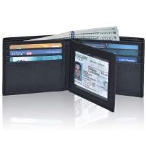 Bifold Wallets for Men - Black Real Leather RFID Blocking Front Pocket Wallets