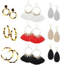 FIBO STEEL 9-12 Pairs Acrylic Dangle Earring for Women Tassel Thread Earrings Leather Teardrop Drop Earring Set for Women Girls Statement Fashion Jewelry