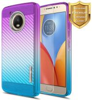 Moto G5 Plus Case with [Tempered Glass Screen Protector], NageBee [Frost Clear] [Carbon Fiber] Slim Soft TPU Rubber Cover Case for Moto G Plus (5th Generation) XT1681 -Purple/Blue