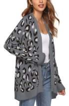 Women's Leopard Cardigan Sweater Open Front Knit Kimono Duster Cheetah Long Sleeves Chic Coat