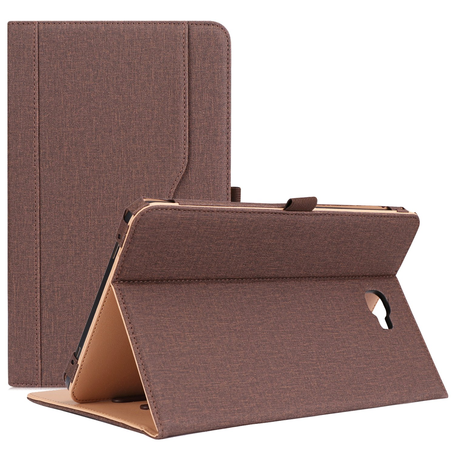 """ProCase Galaxy Tab A 10.1 Case 2016 Old Model, Stand Folio Case Cover for Galaxy Tab A 10.1"""" Tablet SM-T580 T585 T587 (NO S Pen Version) with Multiple Viewing Angles, Card Pocket -Chocolate"""