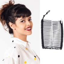 Banana Clip for Thin Fine Hair w/Bar Closure - Add Volume, Sturdy Hold, No Damage, Creases, or Pain - Make Comfy UpDo, Ponytail, French Twist (Black Satin Cord)