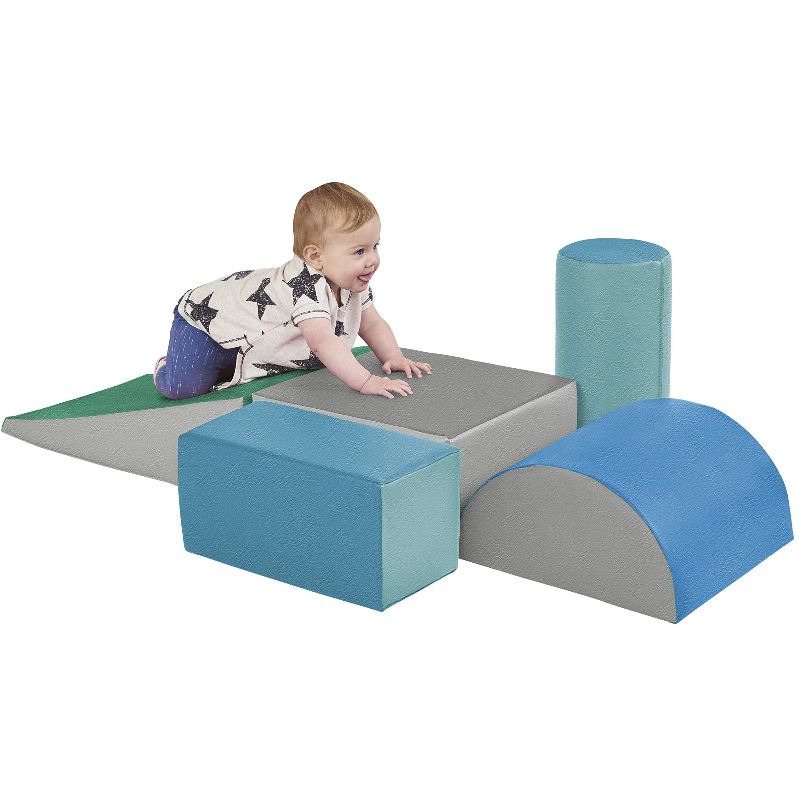 ECR4Kids SoftZone Climb and Crawl Activity Play Set, Lightweight Foam Shapes for Climbing, Crawling and Sliding, Safe Foam Playset for Toddlers and Preschoolers, 5-Piece Set, Contemporary