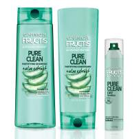 Garnier Hair Care Fructis Pure Clean Shampoo, Conditioner, and Dry Shampoo, Made With Aloe and Vitamin E Extract, Vegan and Paraben Free, 1 Kit