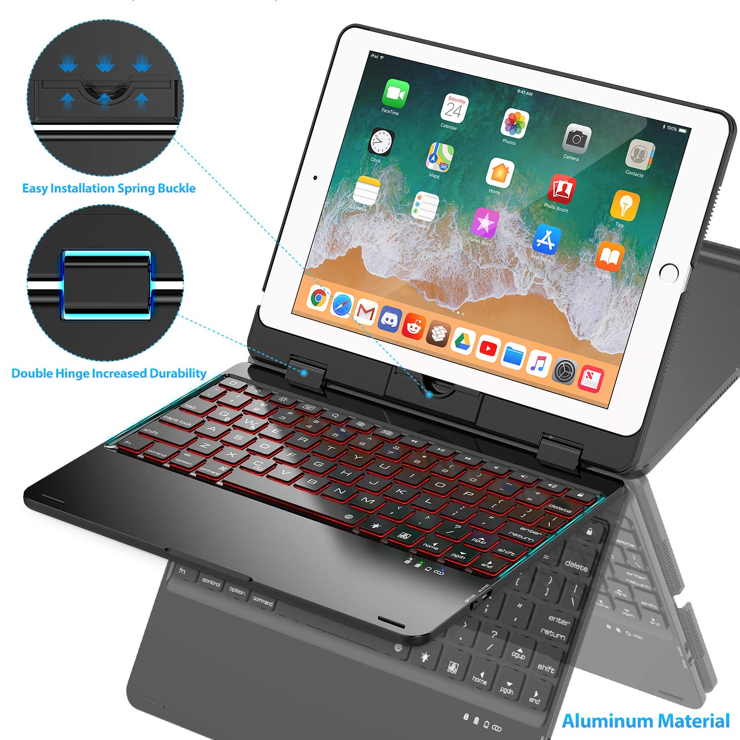 Keyboard Case Compatible with iPad 2018 (6th Gen)/ 2017 (5th Gen)/ iPad Pro 9.7/ iPad Air 2 & 1   360 Rotatable & Aluminum iPad Case with Keyboard - 7 Colors Backlit & Breathing Light (Black)
