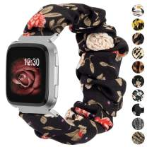 TOYOUTHS Scrunchie Bands Compatible with Fitbit Versa/Versa 2/Versa Lite Special Edition Women Girl Elastic Stretch Fabric Strap Pattern Printed Scrunchy Replacement Bracelet Wristband Accessories