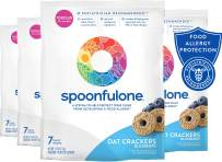 SpoonfulOne Allergen Introduction Oat Crackers | Protection For Kids From Developing a Food Allergy | Snack for a Toddler or Baby 12+ Months | Certified Organic (Blueberry - 28 Pack)