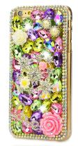 STENES iPhone 7 Plus Case - [Luxurious Series] 3D Handmade Shiny Crystal Bling Case with Retro Bowknot Anti Dust Plug - Stars Rose Flowrs Love/Colorful