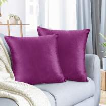 "Nestl Bedding Throw Pillow Cover 20"" x 20"" Soft Square Decorative Throw Pillow Covers Cozy Velvet Cushion Case for Sofa Couch Bedroom, Set of 2, Orchid Purple"
