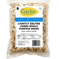 Gerbs Jumbo Lightly Sea Salted Whole Pumpkin Seeds, 1 LB. – Top 14 Food Allergy Free & NON GMO - Vegan & Kosher - Grown in USA