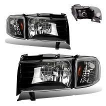 SPPC Crystal Headlights Black With Corner For 1994-2001 Dodge Ram 1500 2500 3500 (Pair)