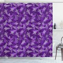 """Lunarable Violet Shower Curtain, Abstract Exotic Tulip Flowers Leaves Silhouettes Retro Style Curly Design, Cloth Fabric Bathroom Decor Set with Hooks, 70"""" Long, Violet Purple"""