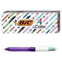 BIC 4-Color Grip Ballpoint Pen, Purple Barrel, Medium Point (1.0mm), Assorted Inks, 3-Count