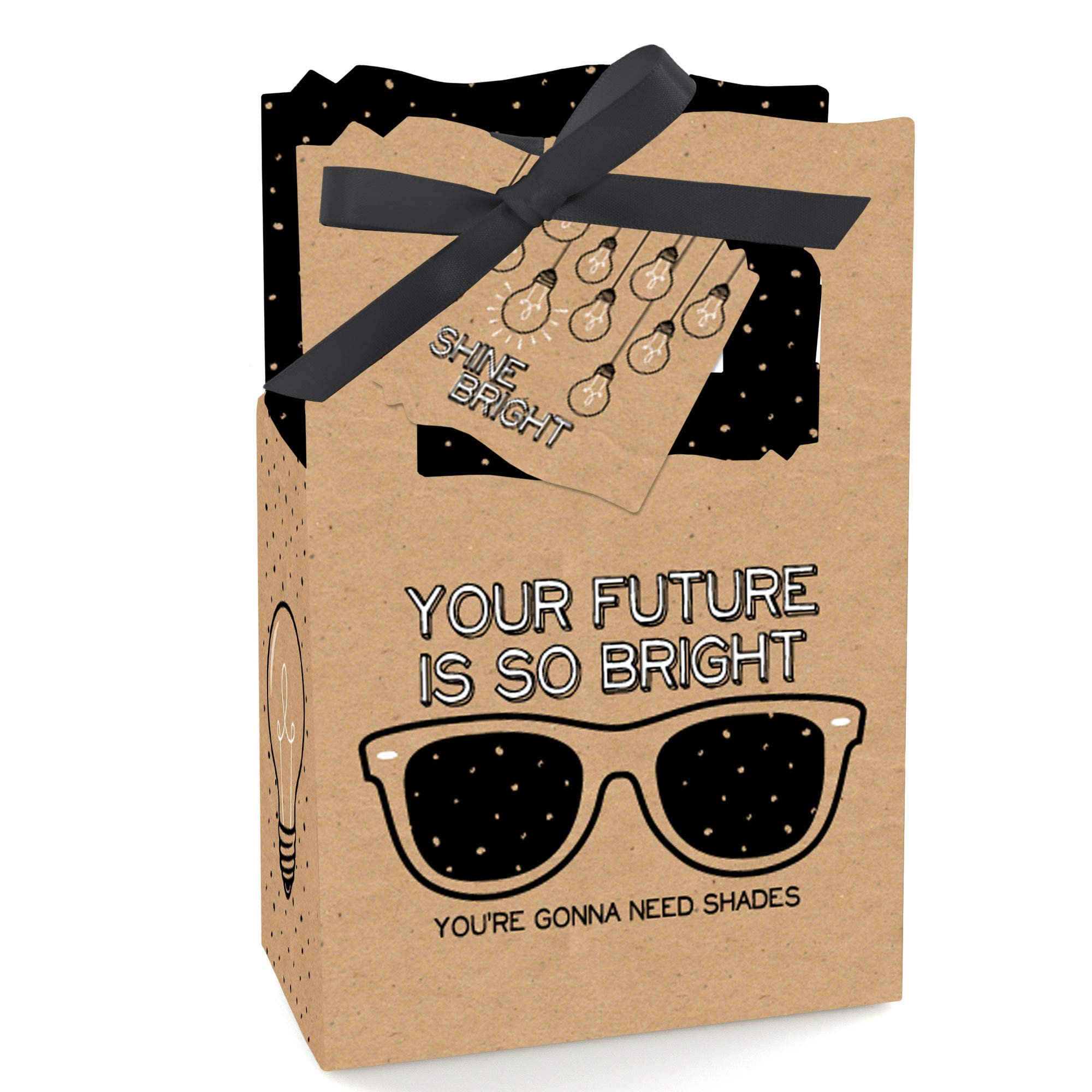 Big Dot of Happiness Bright Future - Graduation Party Favor Boxes - Set of 12