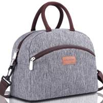 BALORAY Resuable Lunch Bag for Women Men Modern Simple Design Insulated Lunch Box with Shoulder Strap Cooler Bag for Work Picnic Travel(Grey)