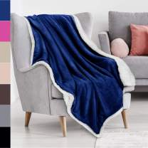 """Blue Sherpa Throw Plush Blanket Size 50"""" x 60"""" Bedding Fleece Reversible Blanket for Bed and Couch, Super Soft Comfy Warm Fuzzy TV Blanket"""