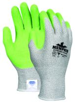 MCR Safety 9672HVGXL Dyneema 13-Gauge Shell Gloves with Crinkle Latex Coated Palm/Fingers, Green, X-Large, 1-Pair