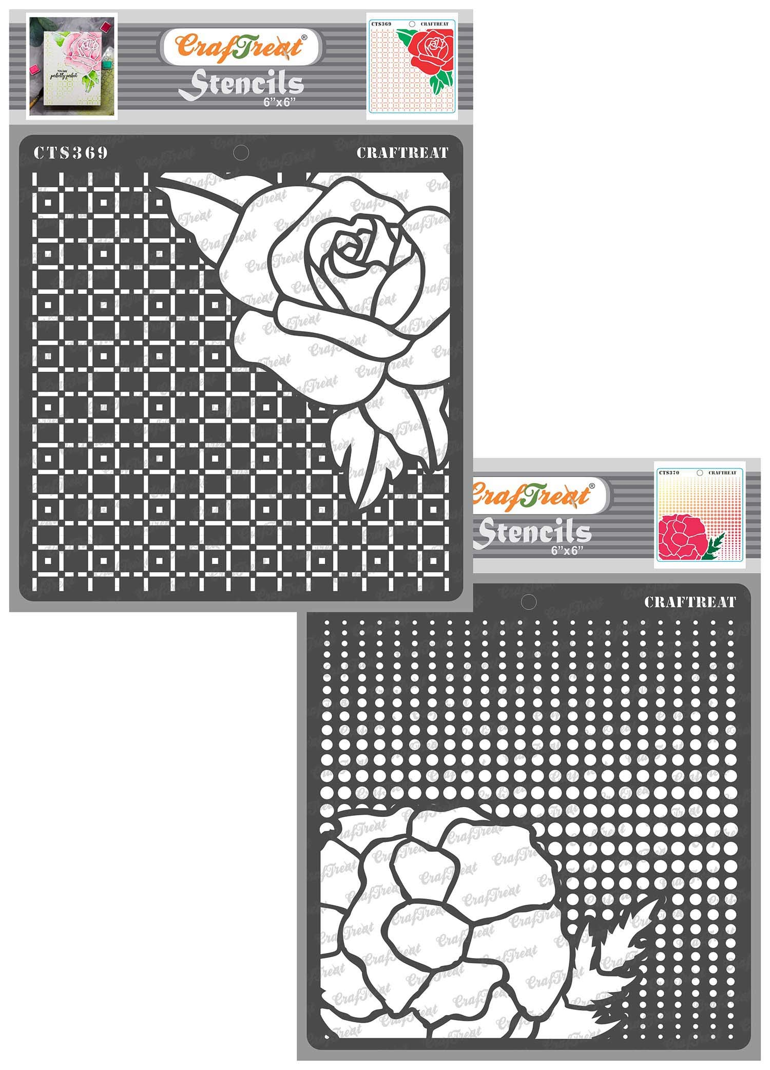 CrafTreat Flower Stencils for Painting on Wood, Wall, Tile, Paper, Fabric and Floor - Checkered Rose and Dotted Poppies Stencil - 2 Pcs - 6x6 Inches - Reusable DIY Craft Stencils for Painting Flowers