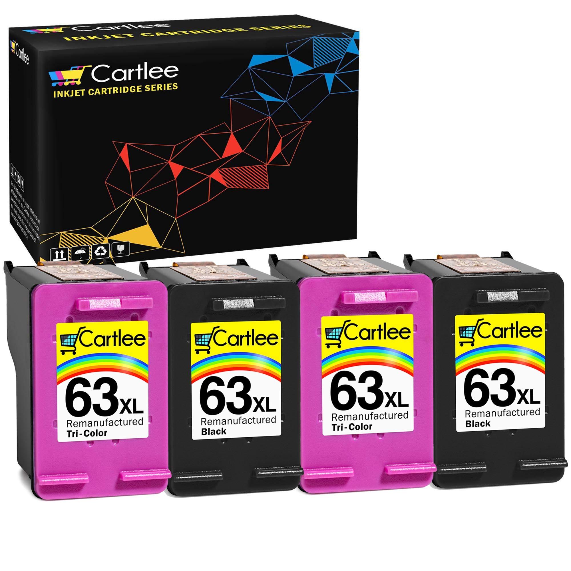 Cartlee 4 Remanufactured 63XL 63 XL High Yield Ink Cartridges for HP Envy 4512 4520 DeskJet 3632 2130 1110 1112 2132 3630 3634 3636 3637 OfficeJet 3830 3833 4650 4652 5255 5258 Printer 2 Black 2 Color
