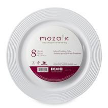 "Mozaik Premium Plastic 7.5"" White Ring Dinner Plates, 8 Count"