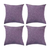 """Set of 4,Decorative Throw Pillow Covers 16"""" x 16"""" v,Solid Cozy Corduroy Corn Accent Square Pillow Case Sham,Soft Velvet Cushion Cover with Hidden Zipper for Couch/Sofa/Bed,Lavender Purple"""