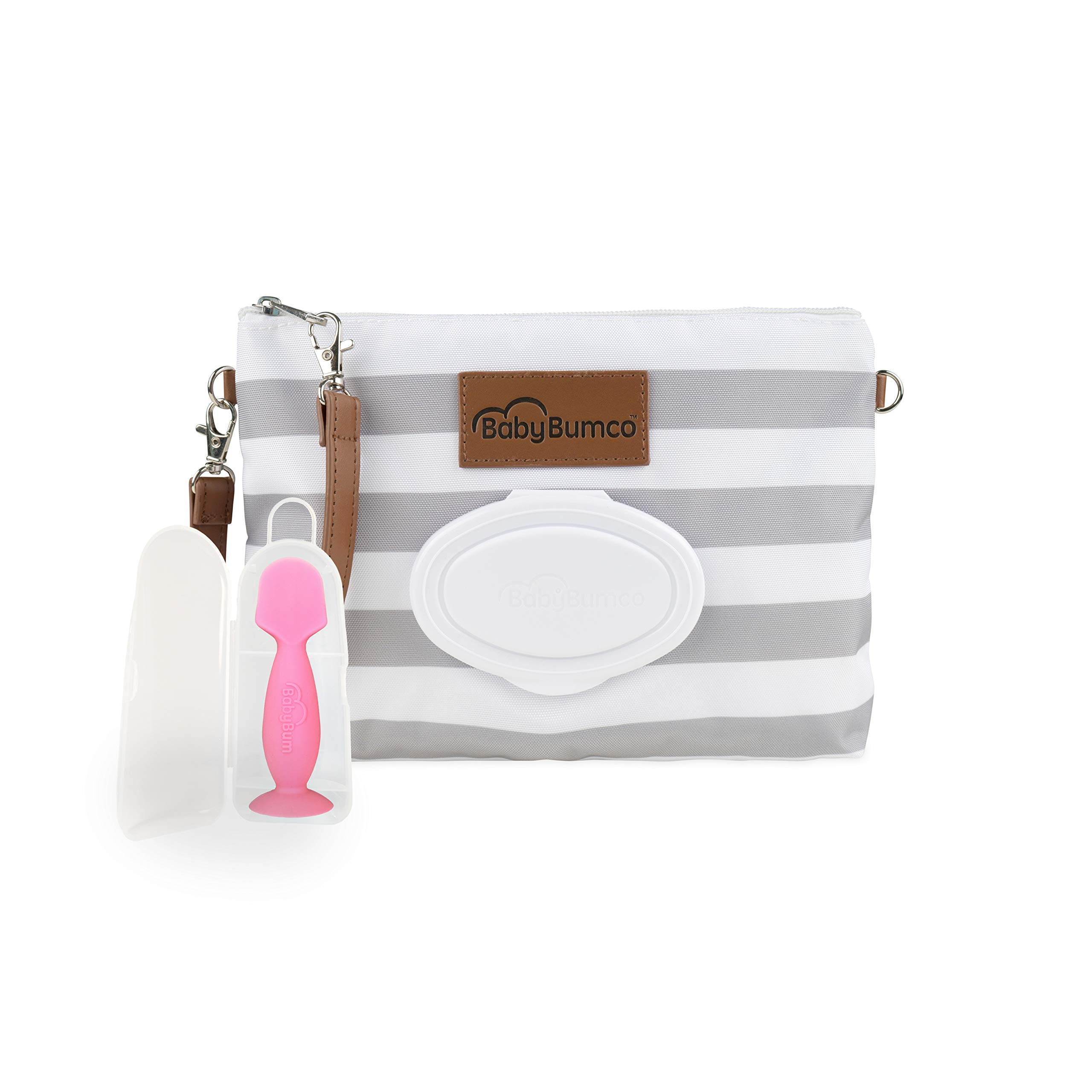 Diaper Clutch Bag and Mini Rash Cream Applicator with Travel Case, Soft Flexible Silicone - Water Resistant; Lightweight; Refillable Wipes Dispenser; Portable Changing Kit (Gray + Pink)