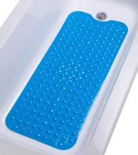 """TIKE SMART Extra-Long Non-Slip Bathtub Mat 39""""x16"""" (for Smooth/Non-Textured Tubs Only) Safe, Clean, Anti-Bacterial, Machine-Washable, Superior Grip&Drainage, Vinyl Bath Mat, Opaque Light Blue …"""