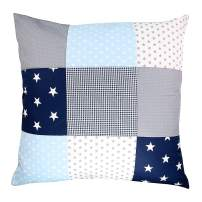 "Soft Cotton Nursery Throw Pillow Cover by ULLENBOOM | Polka Dot/Star/Checkered | Decorative Euro Sham | 26"" x 26"" - Unisex Blue/Grey"