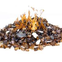 CYS EXCEL Fire Glass for Fire Pit 10 Pounds, Reflective 1/2 inch Fireplace Glass, Rock Outdoor (Reflective, Copper)