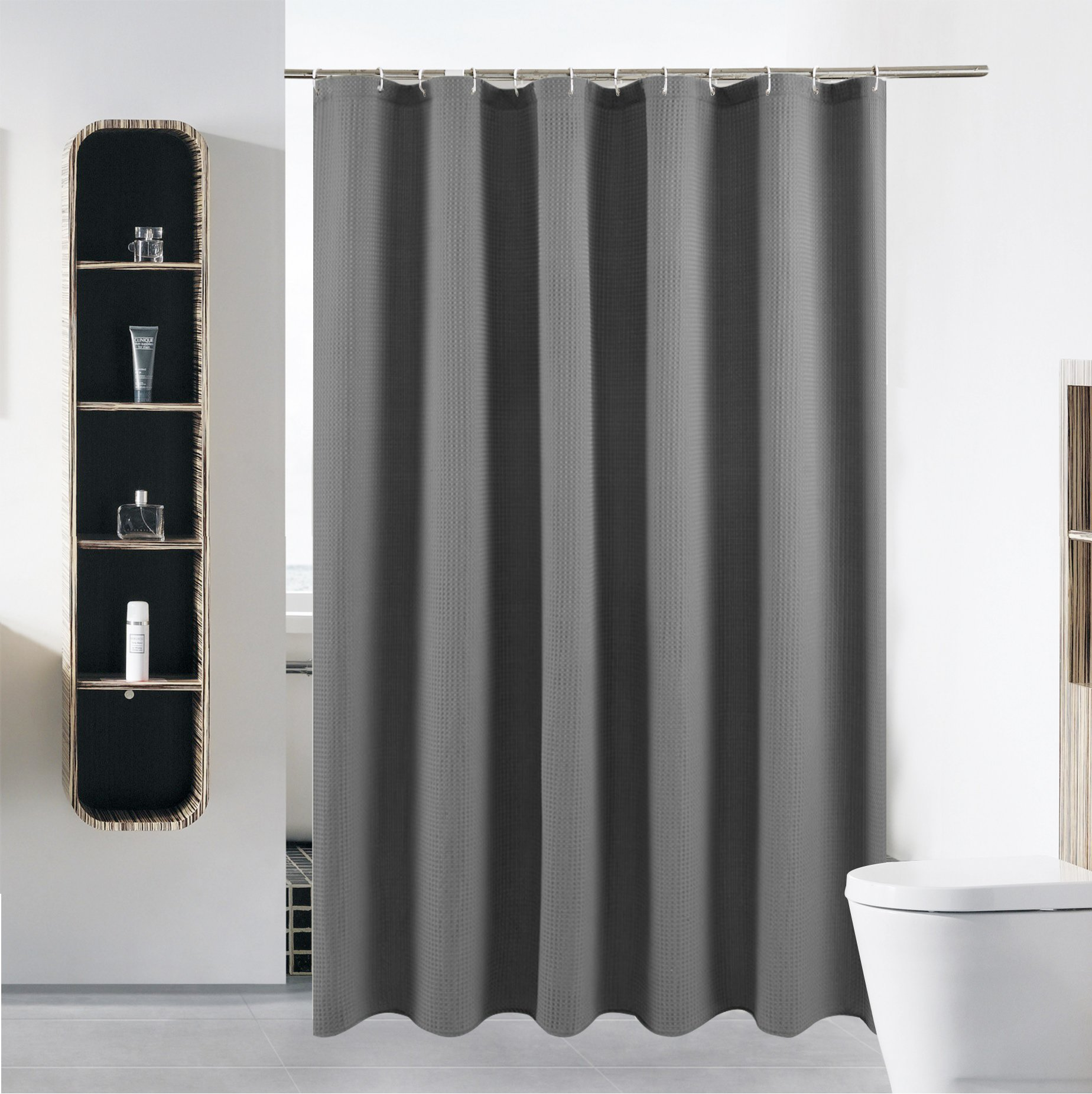 """S·Lattye Standard Fabric Shower Curtain Set or Liner for Bathroom Washable Water Repellent Cloth Polyester (Best Hotel Quality Friendly) with Curved Plastic Hooks - 72"""" x 72"""", Gray Waffle"""