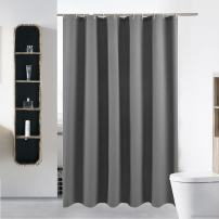 "S·Lattye Luxury Fabric Shower Curtain Water Repellent Washable Cloth (Hotel Quality, Friendly, Heavy Weight Hem) Plastic Hooks - 72"" x 78"", Long, Gray Waffle"