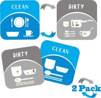 """3.8X3.8"""" 2Pack Magnet Clean Dirty Dishwasher Sign Strong Double Sided Magnet Flip - W/ 2X Metallic Magnetic Plate-Work W/Glass/Iron/Plastic Dishwasher Reversible Indicator"""