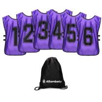 4Gambeta 6-Pack Scrimmage Training Vest - Soccer, Basketball, Football Bibs/Pinnies - Practice Jersey Pennies for Kids, Youth and Adults with Carry Bag