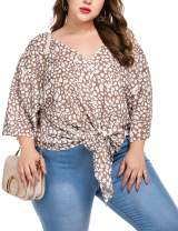 IN'VOLAND Womens Plus Size Floral Chiffon Shirts Hawaiian Short Sleeve V Neck Shirt Batwing Sleeve Tie Knot Front Blouse