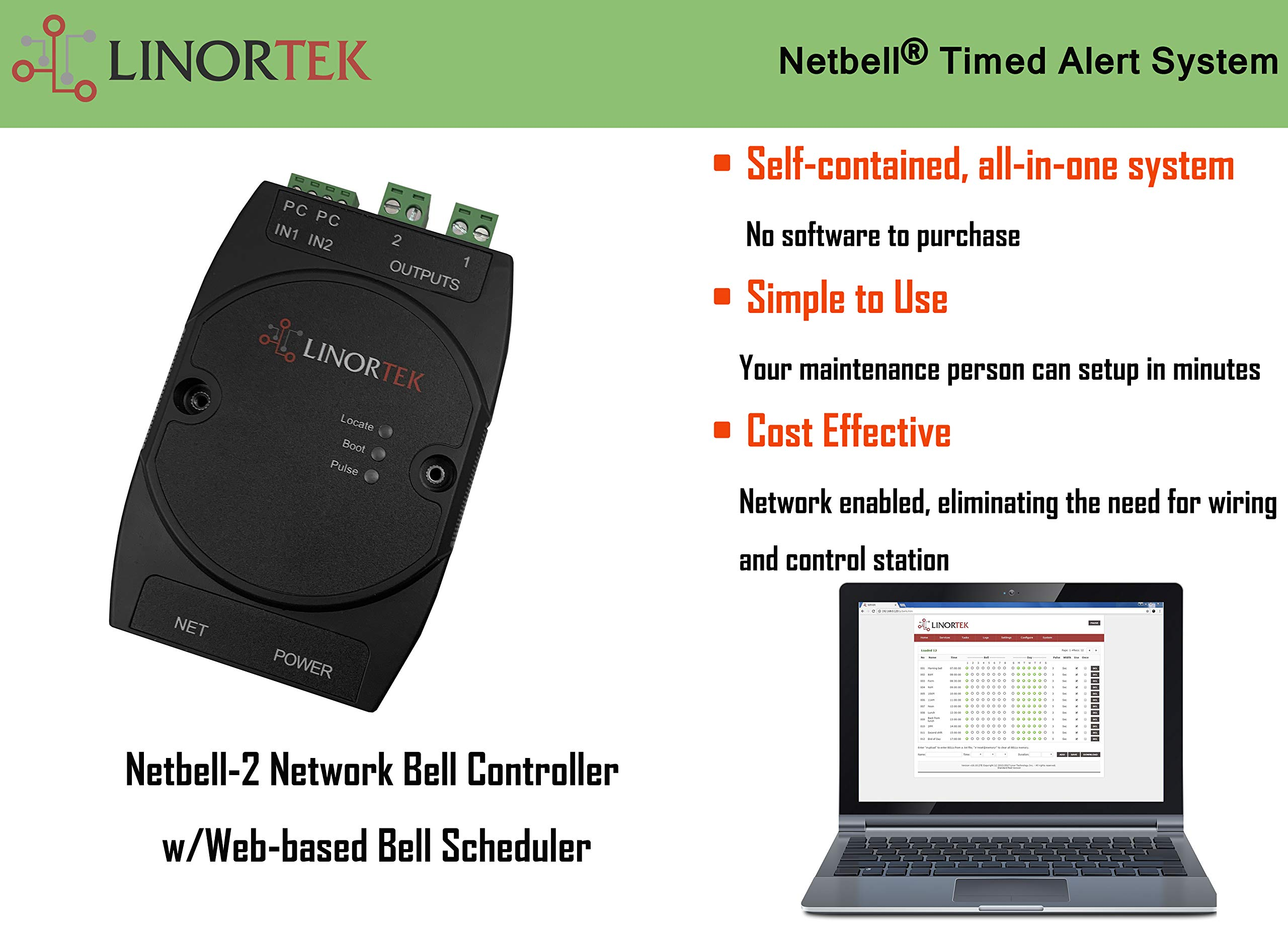 Linortek Netbell-2 TCP/IP Ethernet 2 Zone Bell Ringer Web-Based Bell Controller for 110V 10A Alarm Signal Bell/Horn/Buzzer and Other Timed Equipment POE