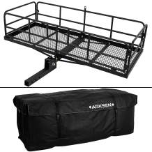 """ARKSEN Foldable 60""""x 24""""x 14"""" Luggage Basket with Cargo Bag Combo Trailer Hitch Carrier Fit 2"""" Receiver, 500 lbs Capacity"""