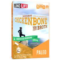 LonoLife Reduced Sodium Chicken Bone Broth Powder with 10g Protein, Paleo and Keto Friendly, Stick Packs, 4 Count